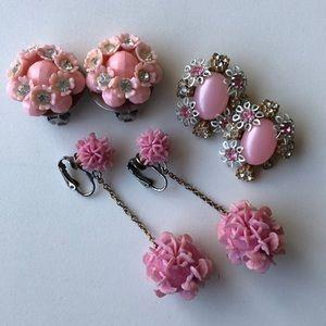 Vintage clip on earrings pink 3 pair pink